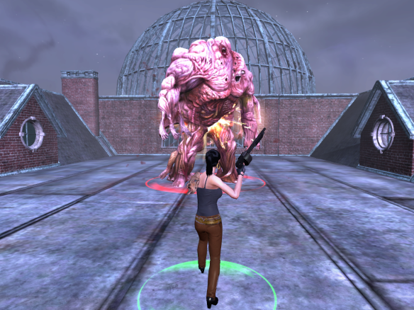 My Templar battles the war golem at Innsmouth Academy in The Secret World