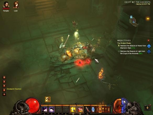 My demon hunter exploring a tomb in Diablo 3