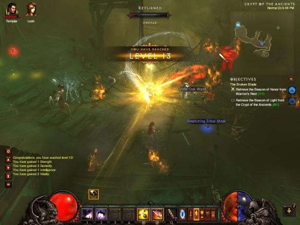 My demon hunter leveling up in Diablo 3