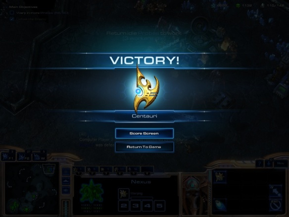 The new victory screen in Starcraft 2