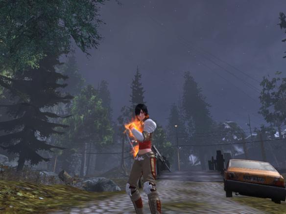 My Templar poses against a starlit Transylvania sky