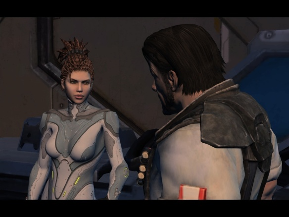 Sarah Kerrigan and James Raynor in Starcraft II: Heart of the Swarm