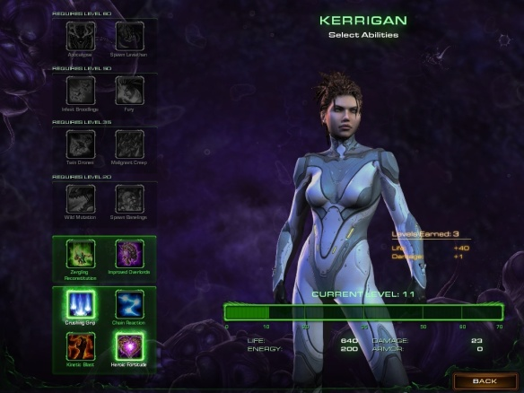 Selecting Kerrigan's abilities in Starcraft II: Heart of the Swarm