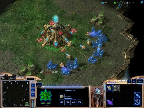 The beginning of a Starcraft 2 ladder match