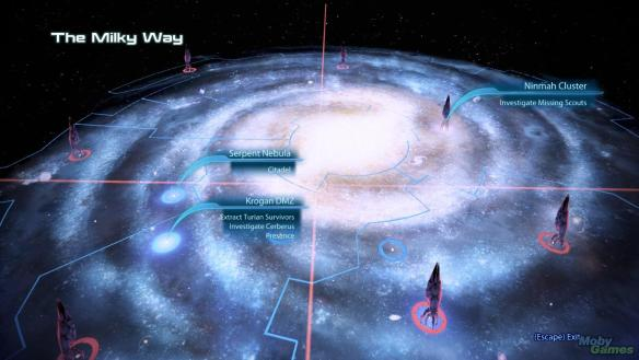 The galaxy map in Mass Effect 3