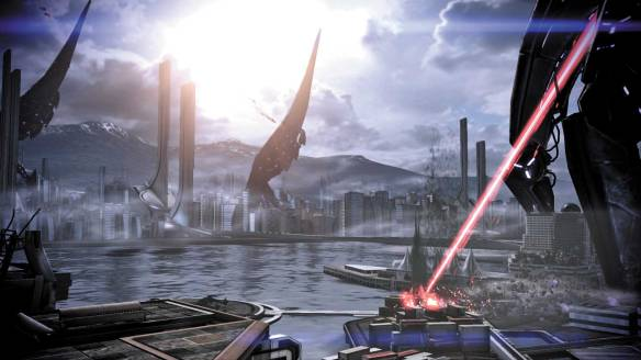 The Reapers demolish Vancouver in Mass Effect 3