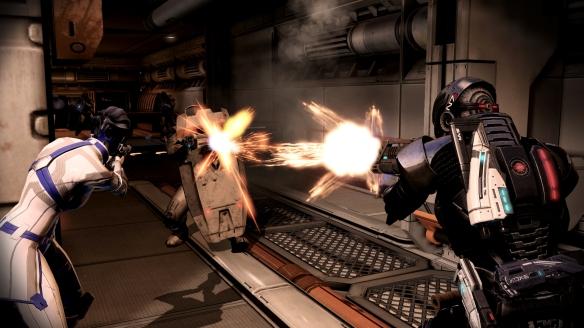 Liara and Shepard battle Cerberus troops in Mass Effect 3