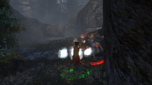My Templar fighting a werewolf in The Secret World