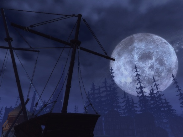 The moon over Blacklake in Neverwinter