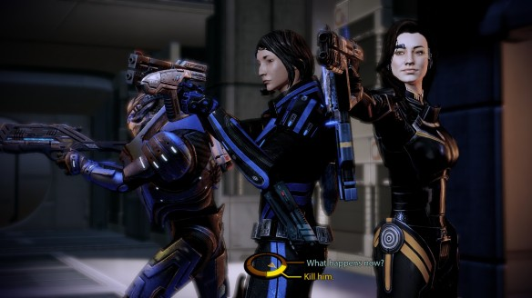 A tense stand-off during Miranda's loyalty mission in Mass Effect 2