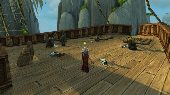 An Alliance shipwreck off the shores of the Jade Forest in World of Warcraft