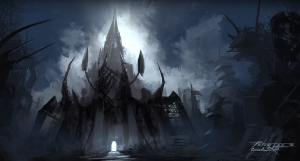 Concept art of the cancelled Azjol-Nerub zone from World of Warcraft