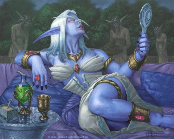 Art of Queen Azshara from the Warcraft trading card game