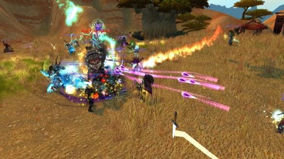 My warlock tanks a Kor'kron commander during Battlefield: Barrens