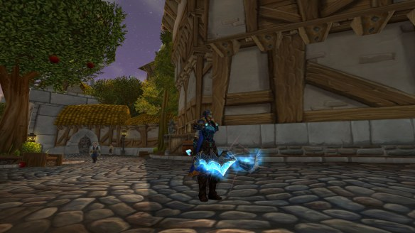 My rogue on the streets of Stormwind at sunset