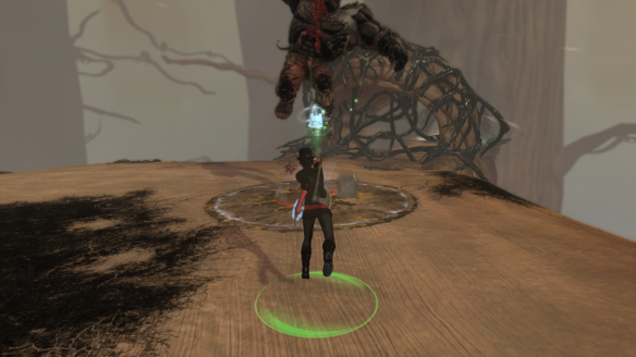 My Templar battles the Titan of Dis in The Secret World
