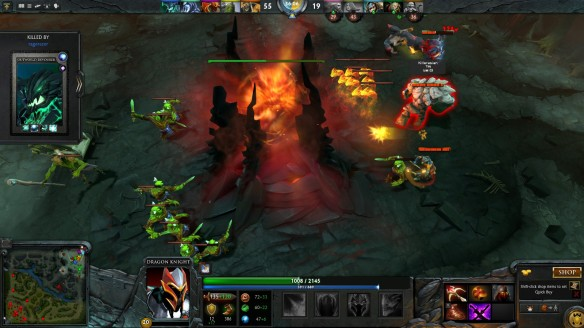 The Dire Ancient falls in DOTA 2