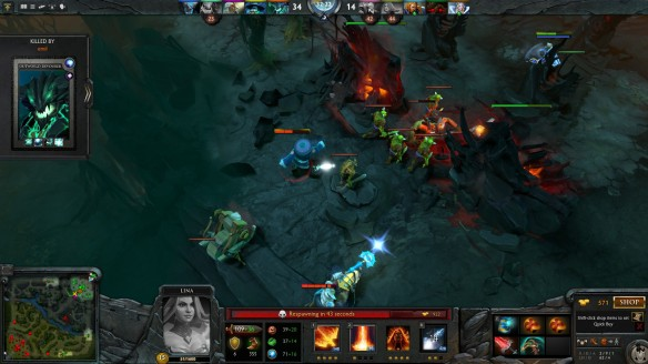 A team fight in DOTA 2