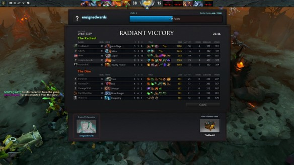 The victory screen in DOTA 2