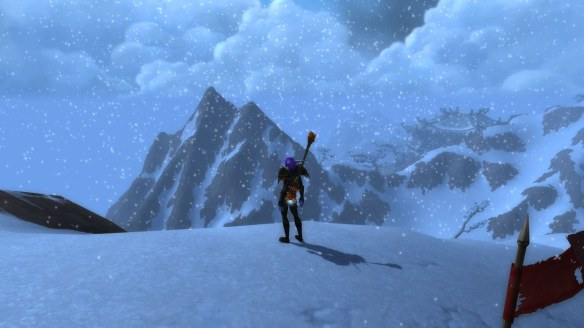 My monk endures a snowstorm in Kun-Lai Summit in World of Warcraft