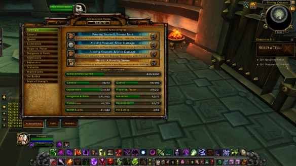 My warlock's Proving Grounds achievements