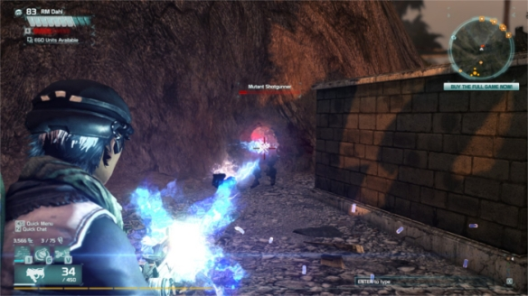 My character blasts mutants in Defiance