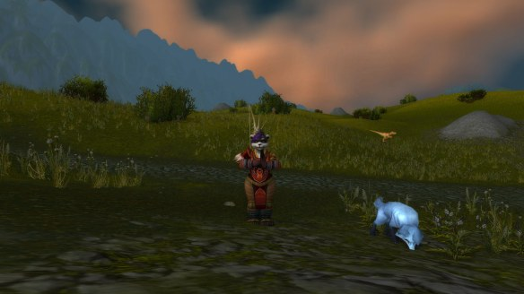 My hunter and her pet fox in the Arathi Highlands
