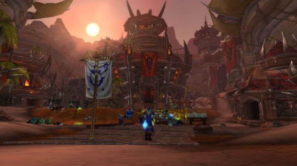 My rogue plants the banner of Theramore in Orgrimmar