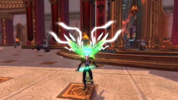 My warlock showing off her legendary cloak in World of Warcraft