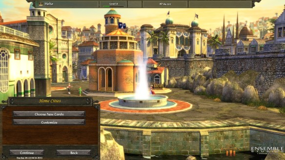 The home city screen in Age of Empires III