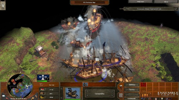 A naval battle in Age of Empires III