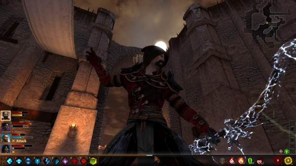 Hawke fights in the moonlight in Dragon Age 2