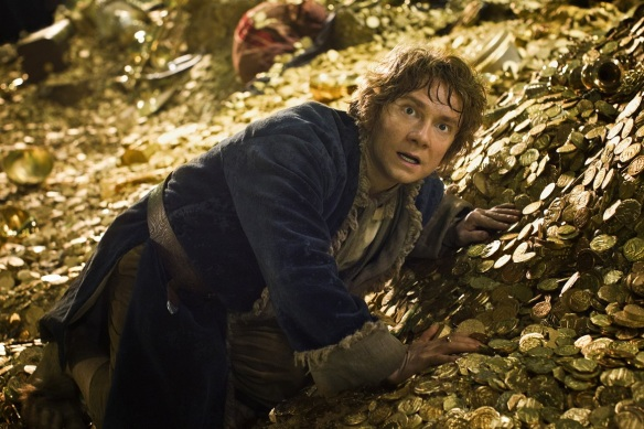 Bilbo faces Smaug in the Desolation of Smaug