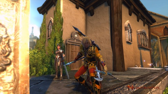 My ranger showing off her fancy new gear in Neverwinter