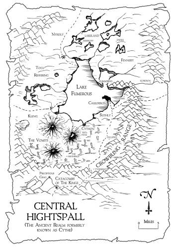"A map of central Hightspall, the setting of Ian Irvine's ""The Tainted Realm"" trilogy"