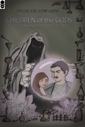 "Cover art for ""Children of the Gods, the Second Book of the World Spectrum"""