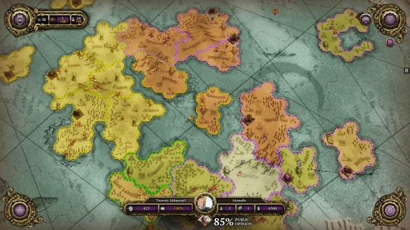 The strategy map in Divinity: Dragon Commander