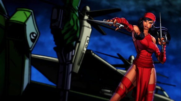 A cartoon cutscene from Marvel Heroes featuring Elektra