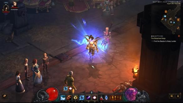 My wizard showing off her new gear in Diablo III