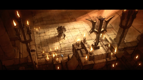A cutscene from the crusader class in Diablo 3