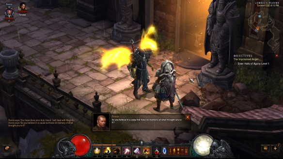 My crusader having a heart-to-heart with Kormac in Diablo III: Reaper of Souls