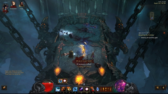 Battling atop the battering ram outside Pandemonium Fortress in Diablo III: Reaper of Souls