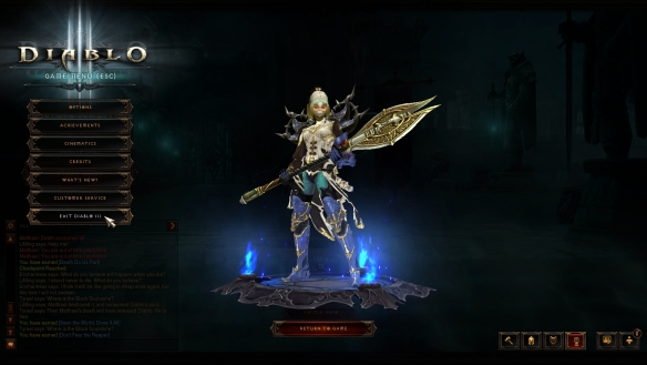My wizard showing off her gear in Diablo III: Reaper of Souls