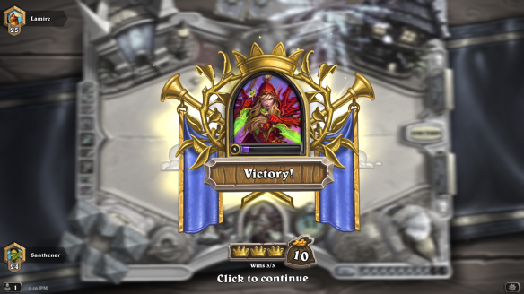 Winning a match in Hearthstone