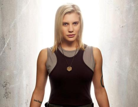 "Katee Sackhoff in her role as Kara ""Starbuck"" Thrace on Battlestar Galactica"