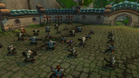 My monk training with the Pandaren in World of Warcraft