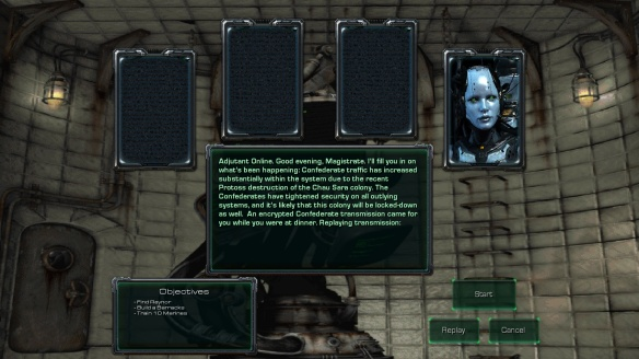 The briefing room in the StarCraft: Mass Recall mod