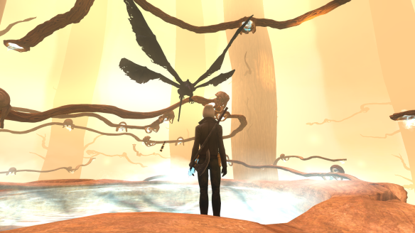 Flappy dive-bombs the branches of Agartha during the Whispering Tide event in The Secret World