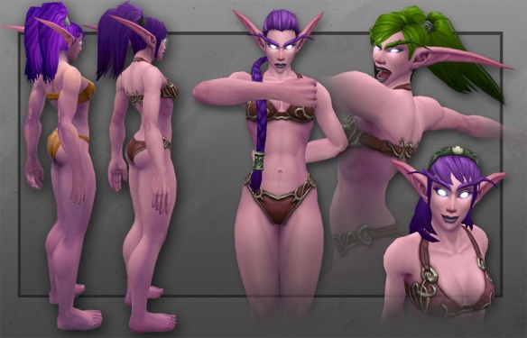 The new model for Night Elf females in World of Warcraft (fangs pending)