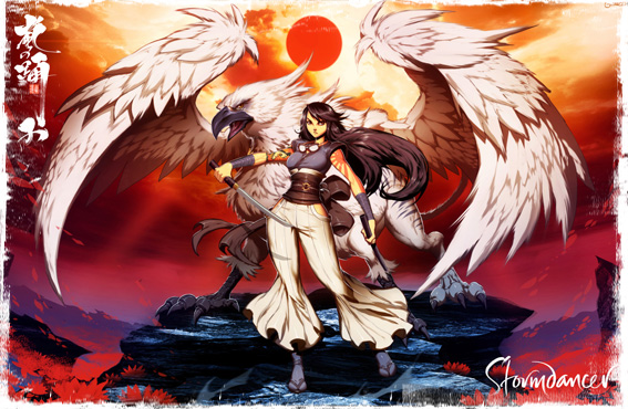 "Art of Yukiko and the gryphon Buruu from ""The Lotus War, book one: Stormdancer"""